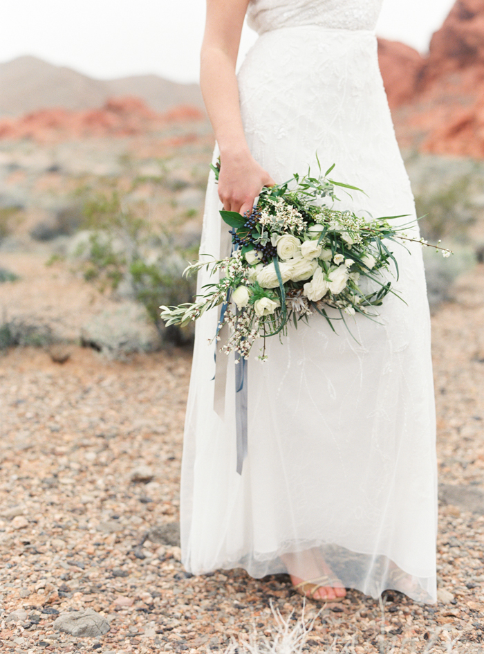 desert greens and indigo inspired valley of fire wedding bouquet