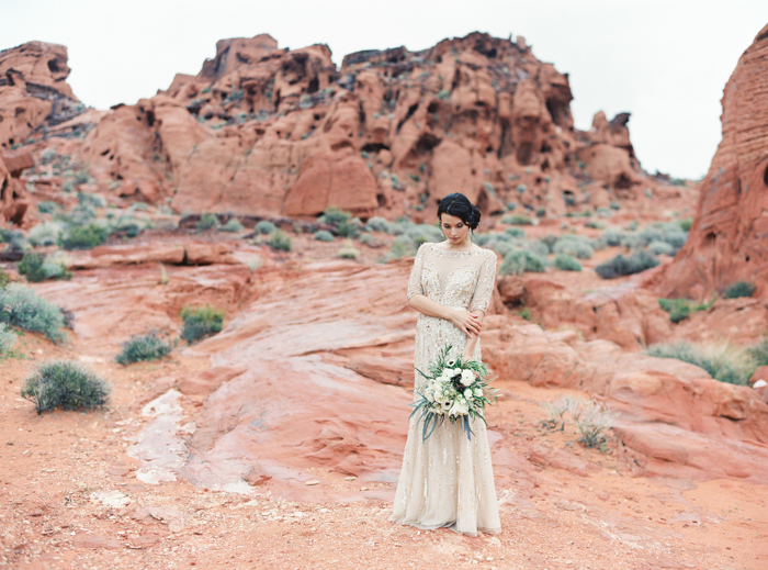 desert and indigo inspired valley of fire gold wedding gown