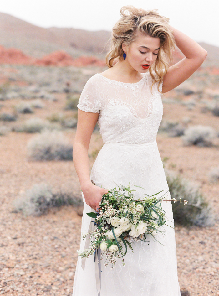 desert and indigo inspired valley of fire wedding dress