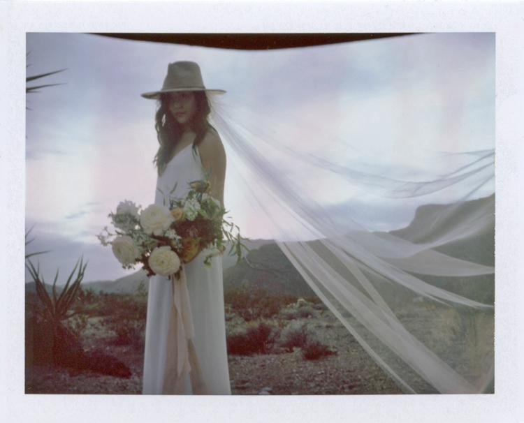 minimal desert wedding inspiration on polaroid | gaby j photography