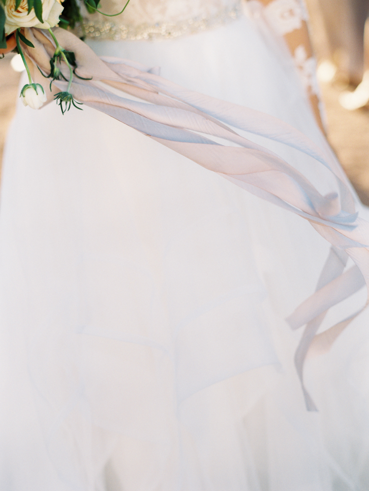 silk and willow ribbon wedding bouquet