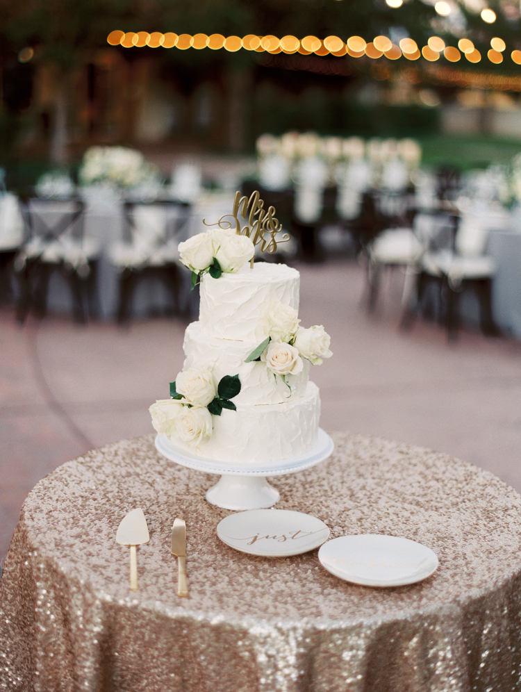 classic wedding cake with real flowers