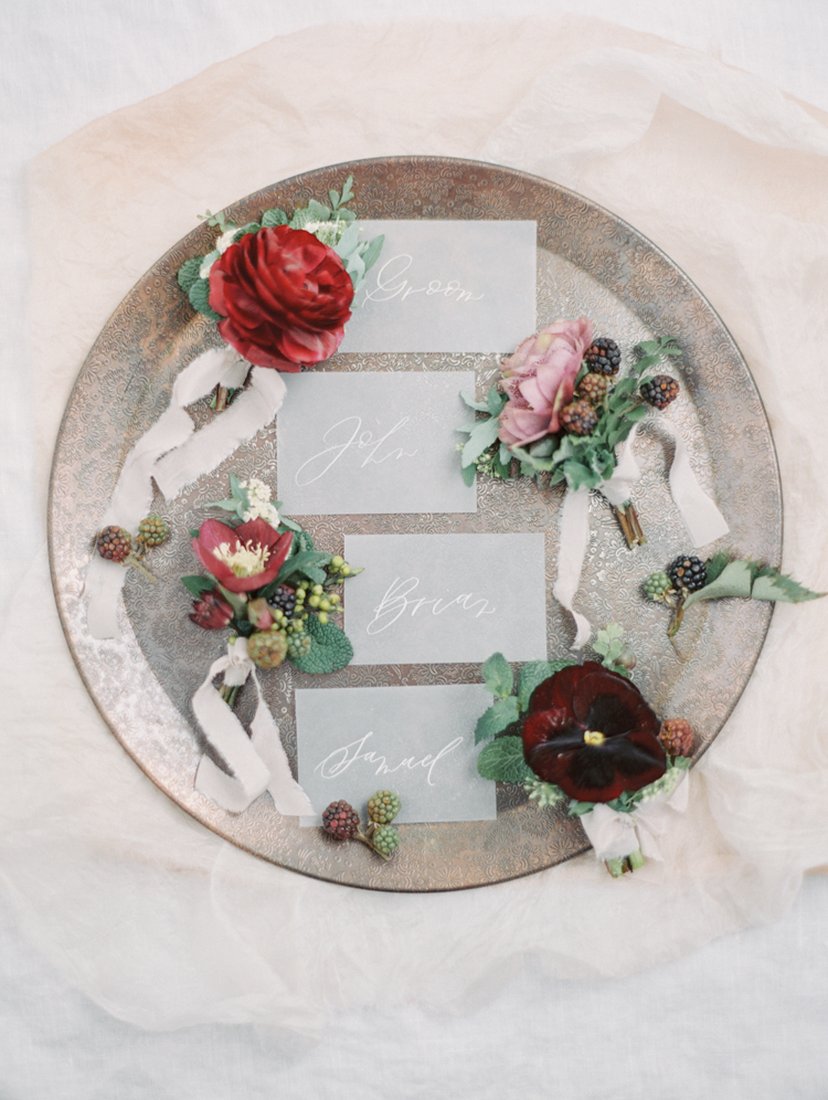 graceful romantic tuscan inspired wedding boutonnieres