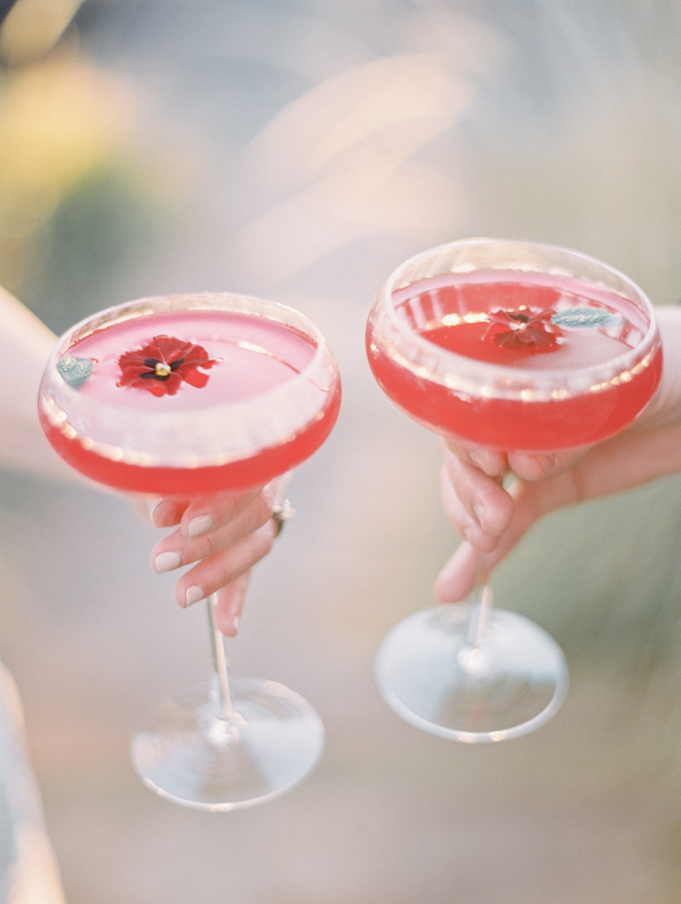 red magenta cocktail wedding drinks