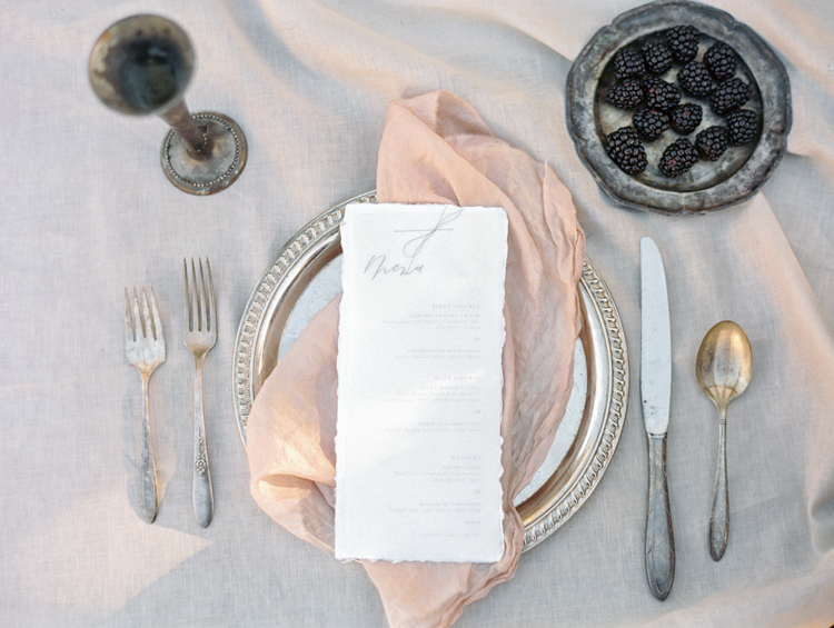 graceful romantic intimate tuscan inspired wedding tablescape