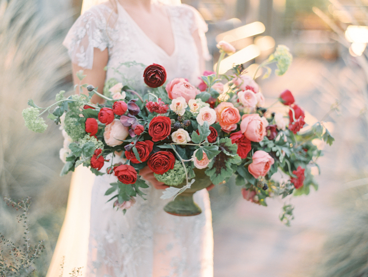 lush english garden inspired wedding florals