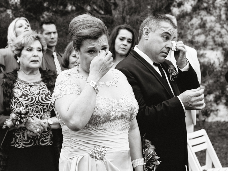 parents crying during wedding ceremony