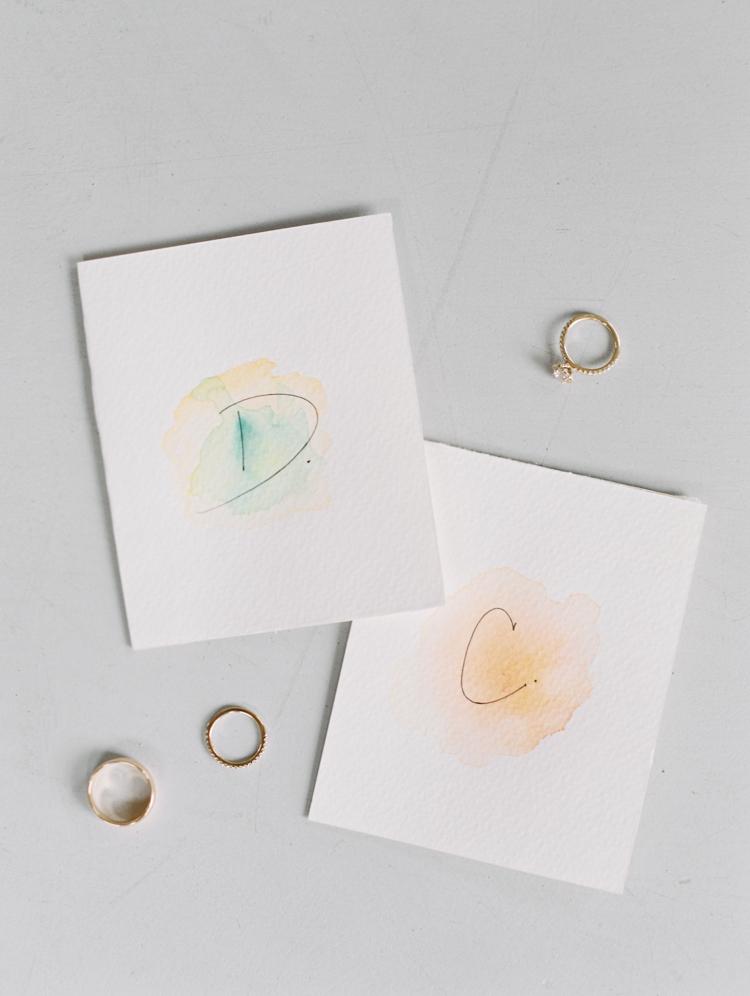 watercolor wedding vow cards