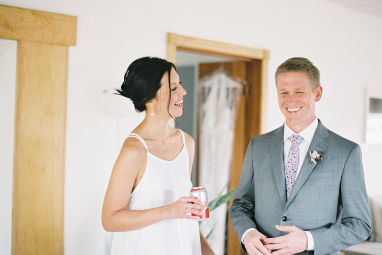 bride and groom getting ready together elopement