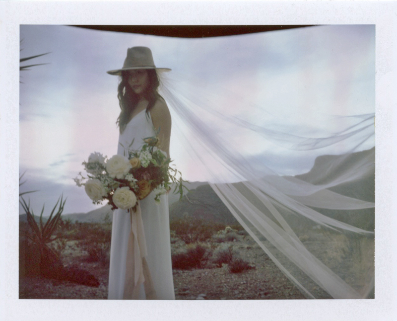 bridal portrait on polaroid fp 100c