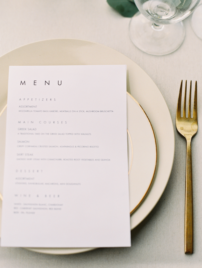 modern wedding dinner menu
