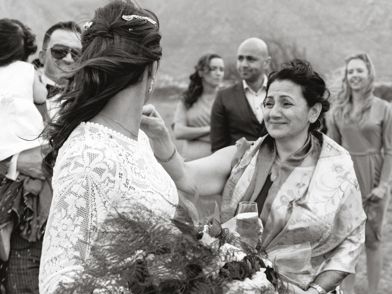 mother of the bride crying during wedding