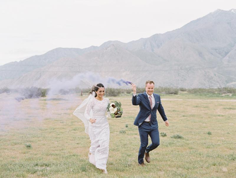smoke bombs during wedding photo