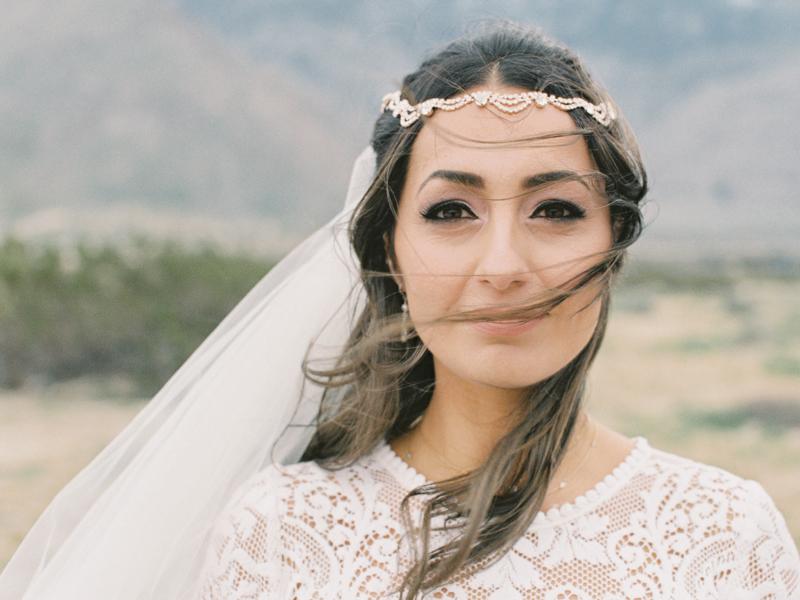 bride hair flowing in the wind