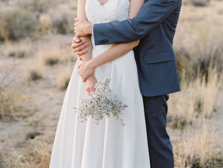 foraged wedding bouquet bhldn dress