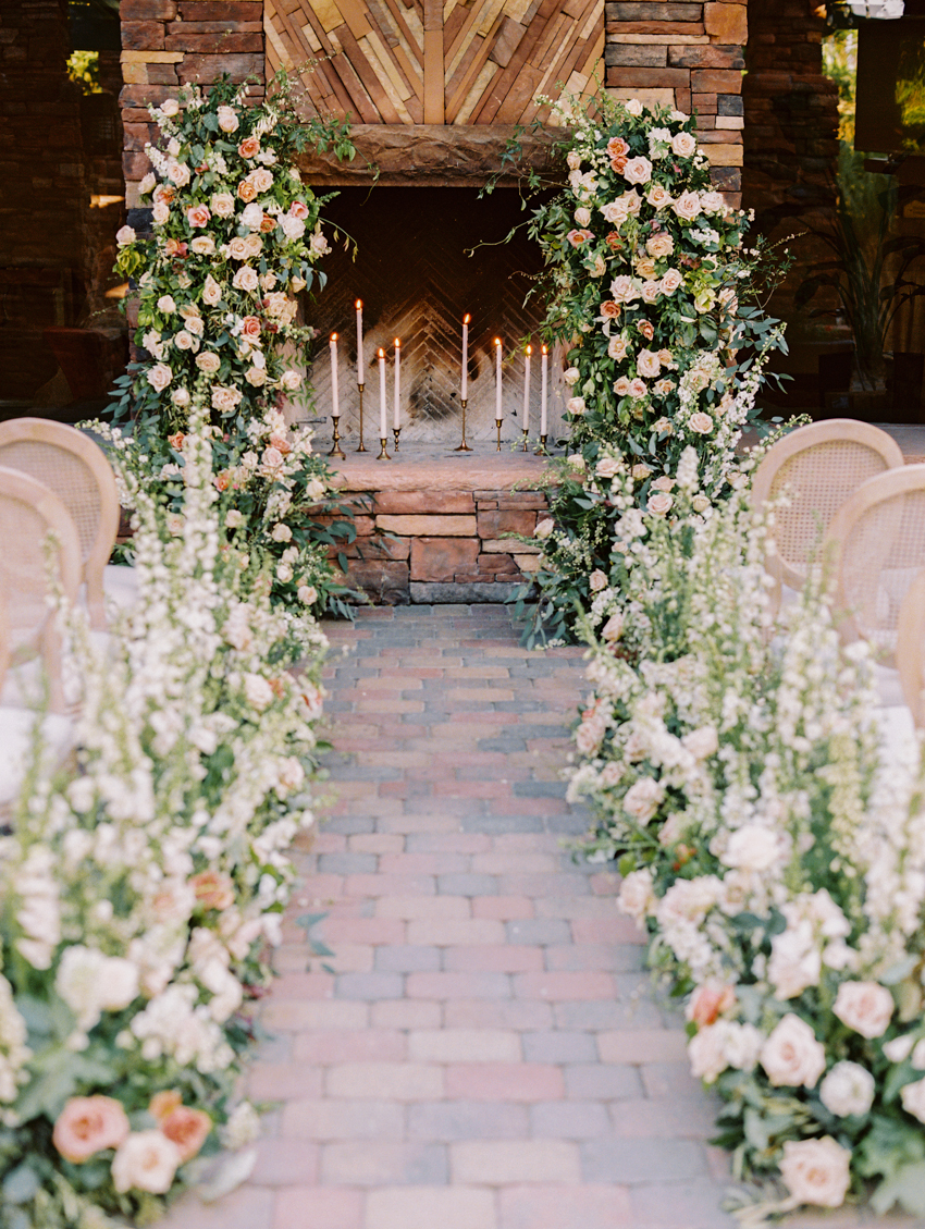 garden floral ceremony altar fireplace