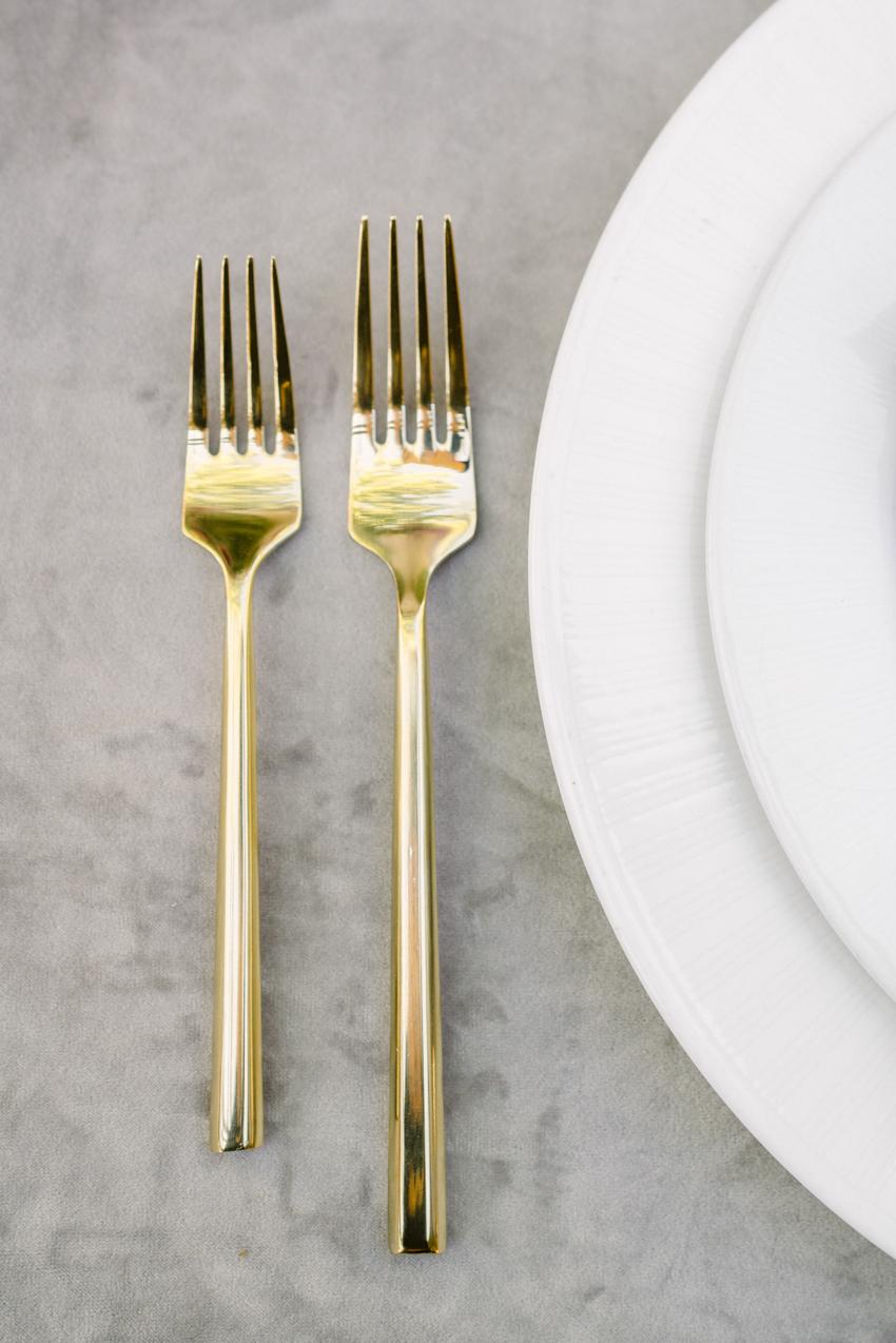 gold flatware wedding reception