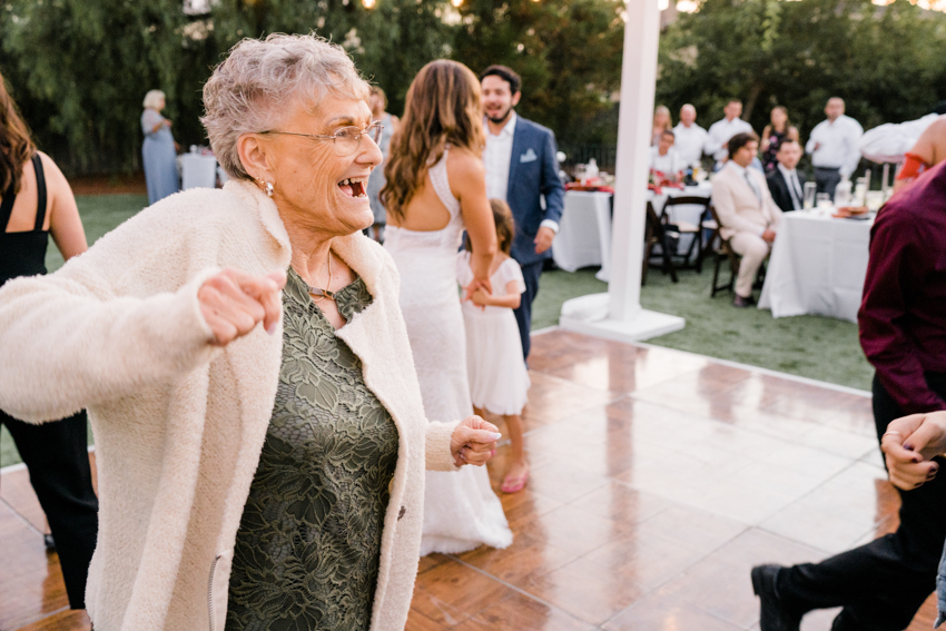 grandma dancing during wedding reception