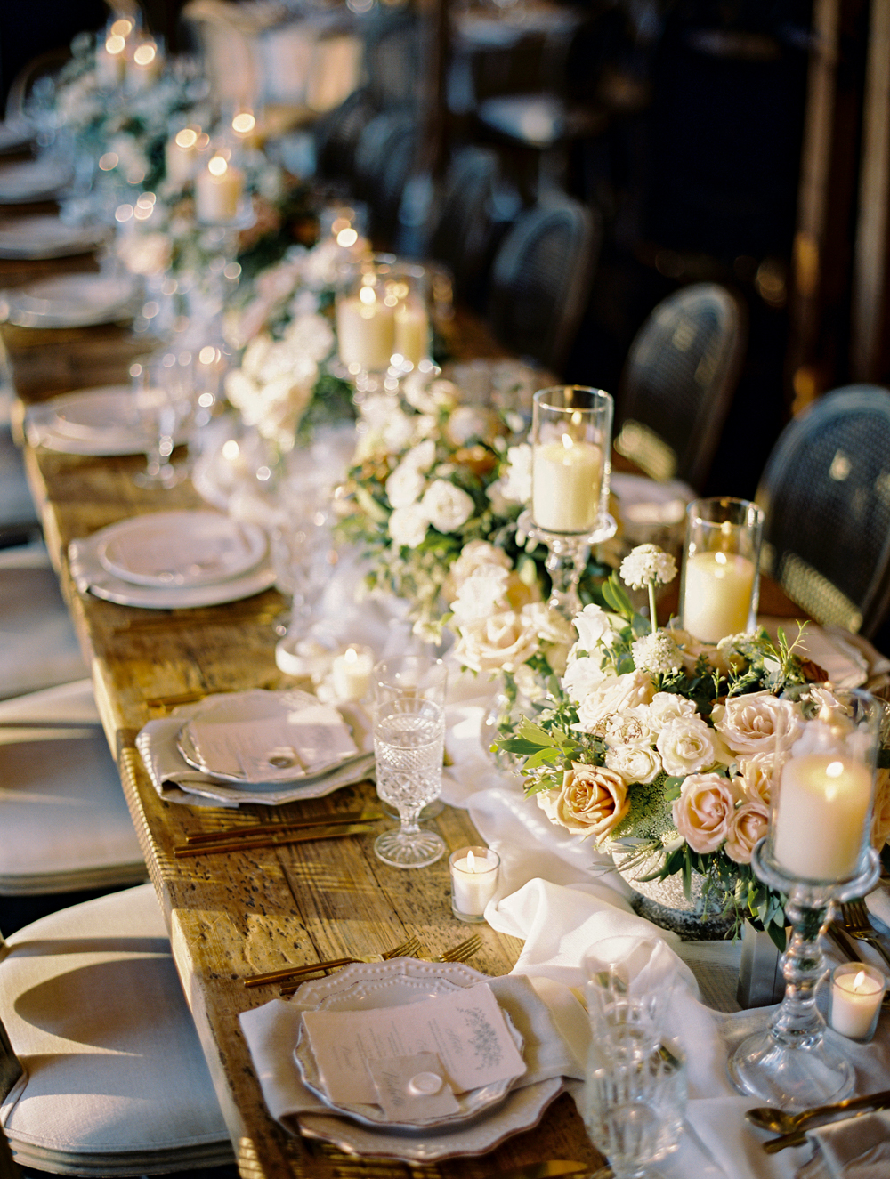 romantic wedding tablescape with candles