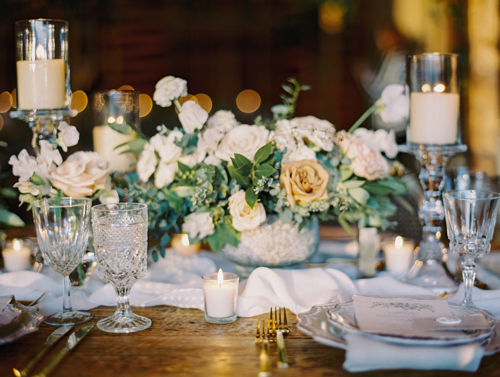 romantic wedding tablescape with luxurious neutral linen