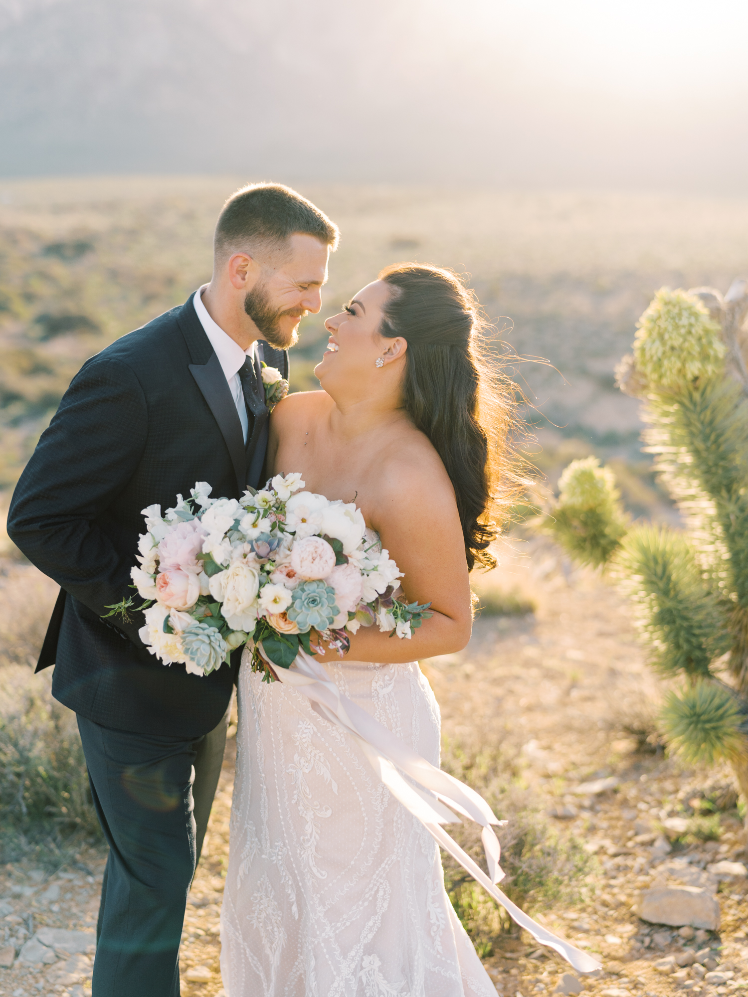las vegas desert wedding during sunset