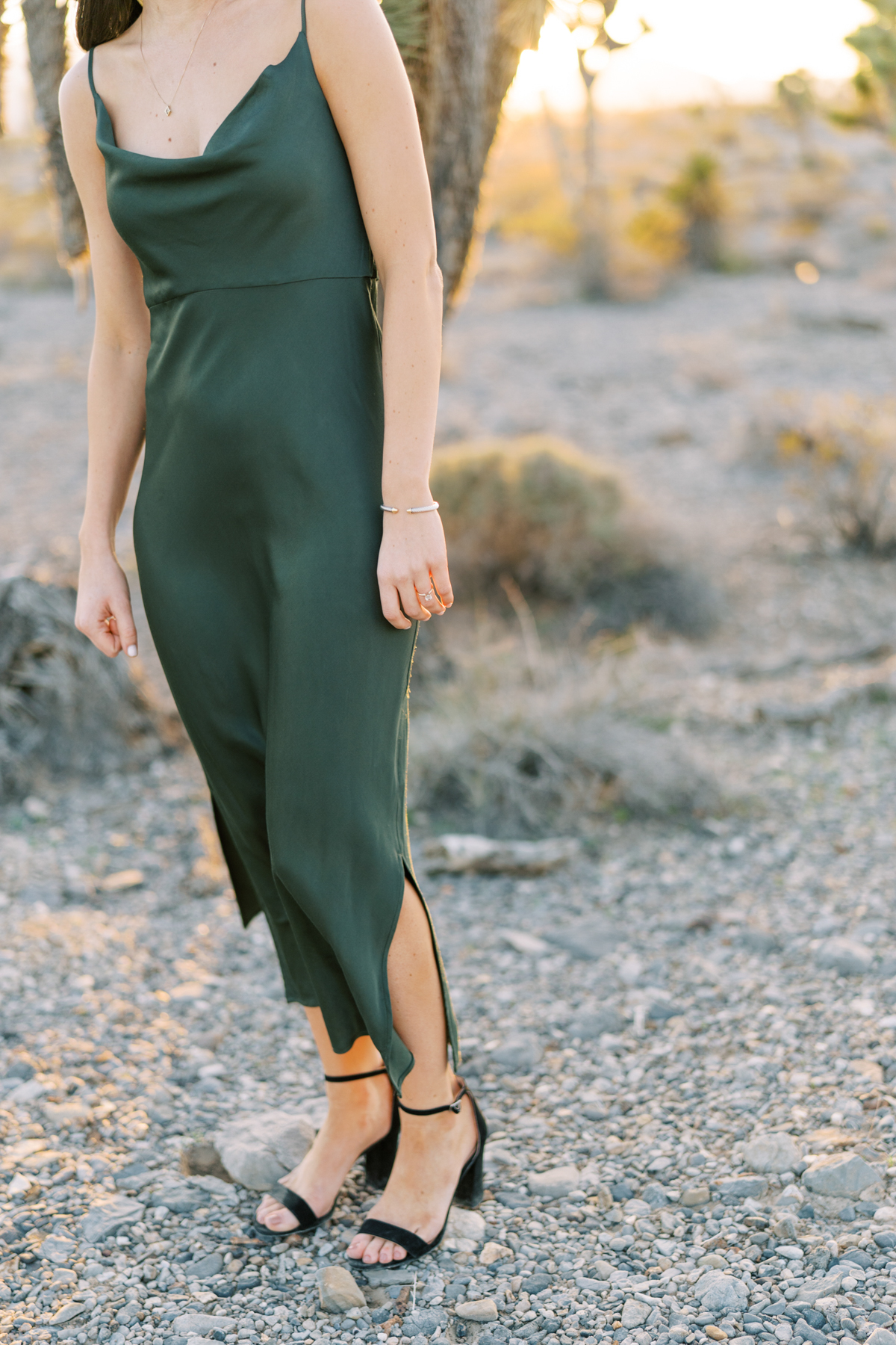 dark green dress engagement photo outfit