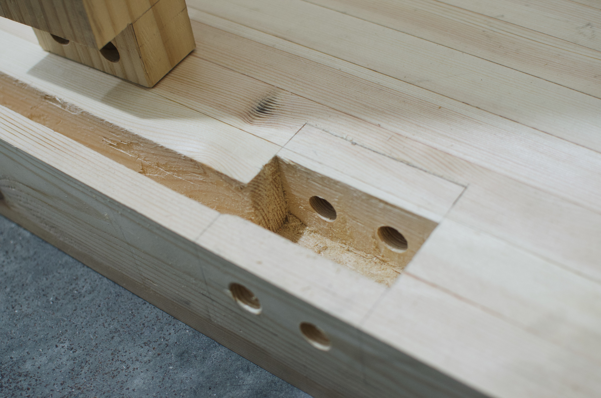 Workbench haunched mortise and tenons draw bore PF