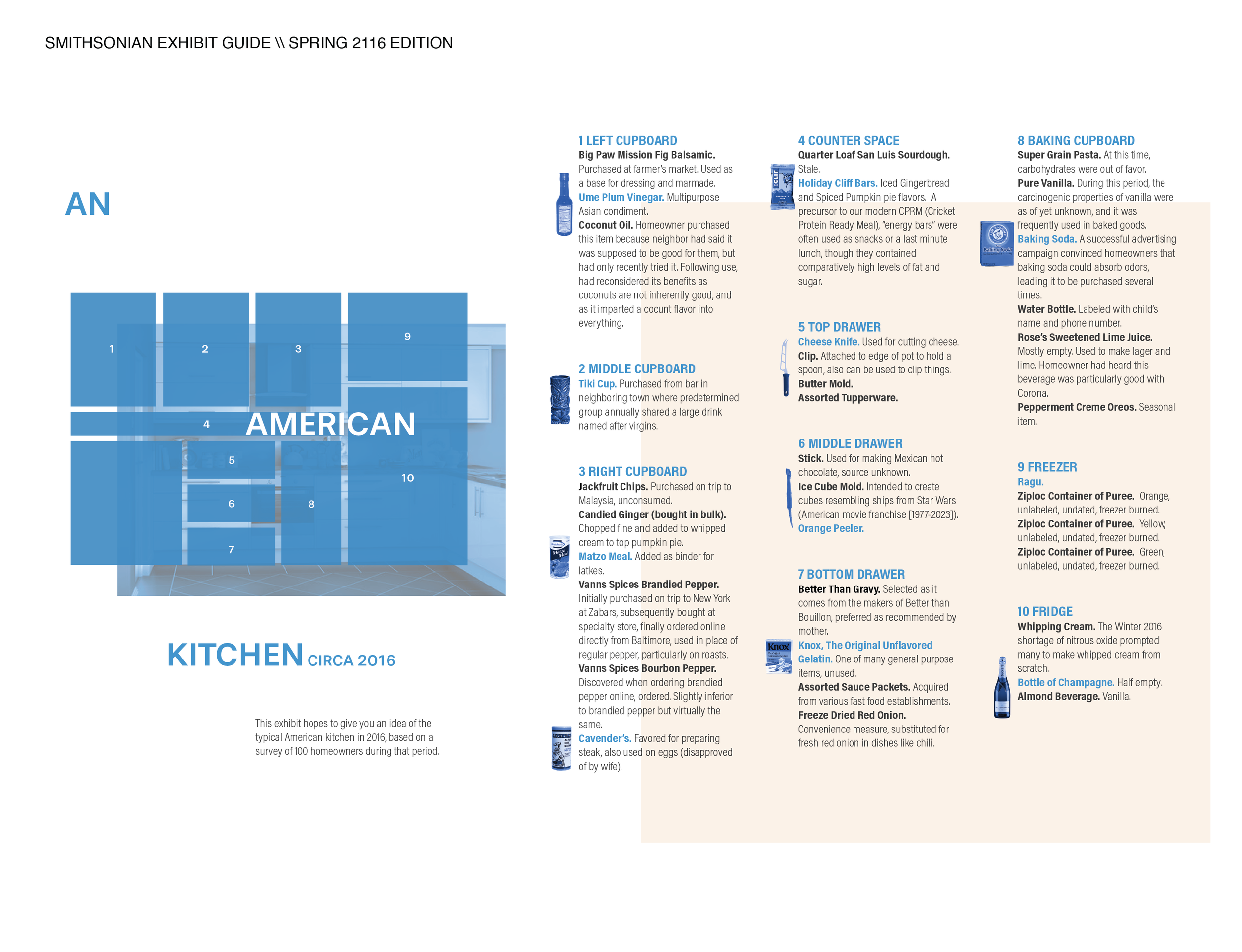 A satirical exhibit guide to an American kitchen in 2016.