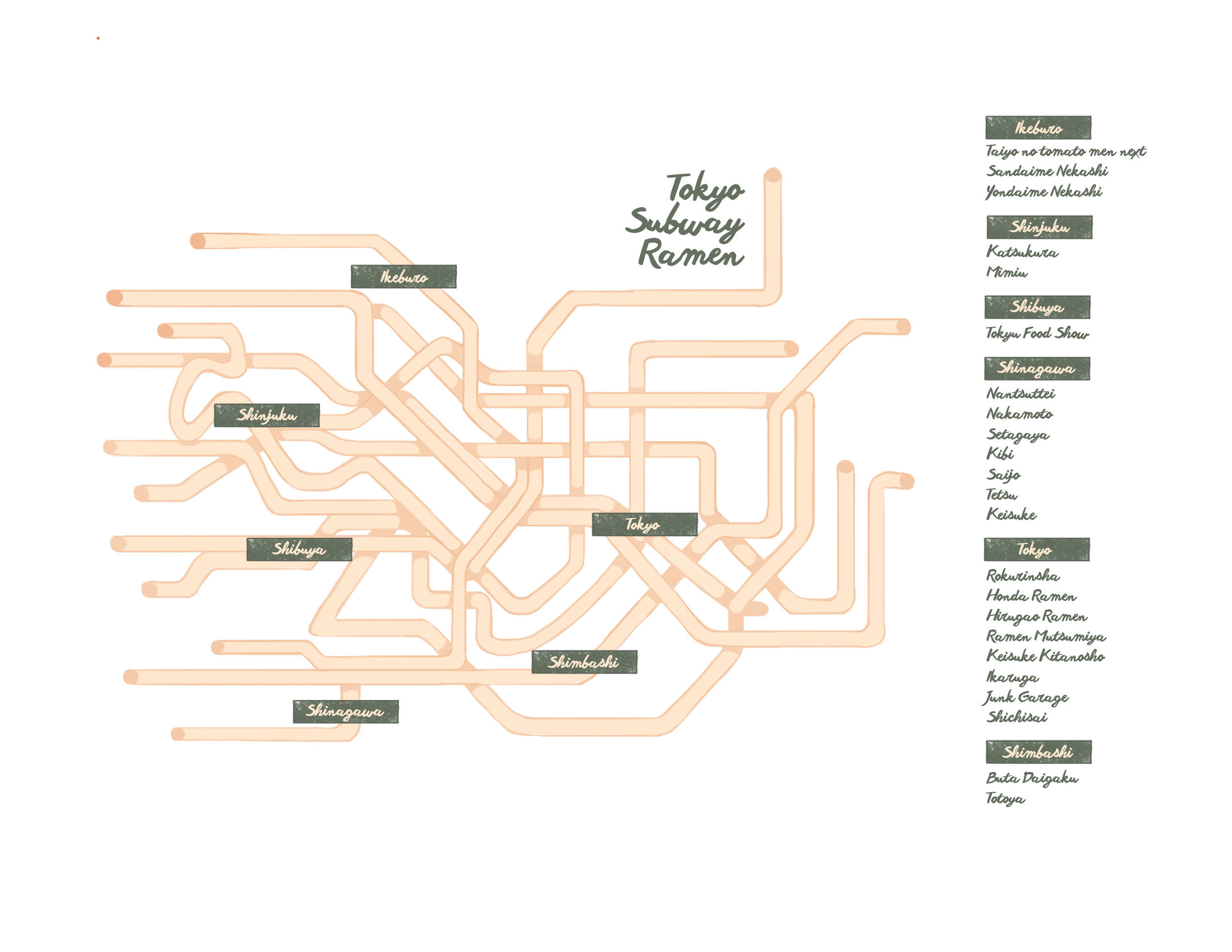 A map of the Tokyo subway system made out of ramen, that marks underground subway noodle shops.