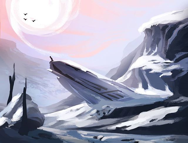 First time compositing and then painting, aka the True Concept Artist Method. Ya really do learn something new everyday. . . . #artistsoninstagram #digitalillustration #landscape #illustrationoftheday #art #digitalart