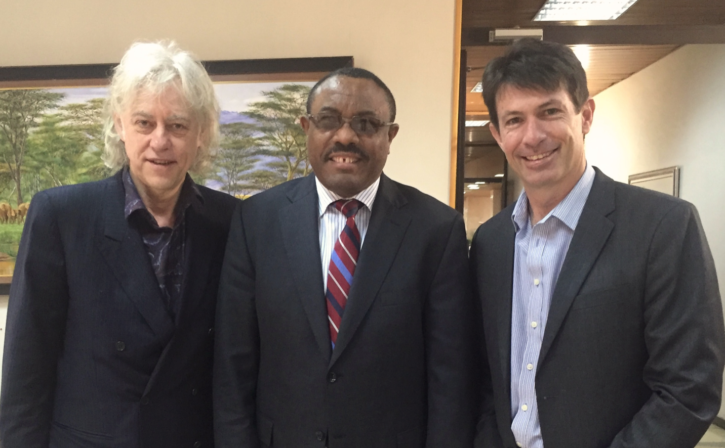 From Left: Sir Bob Geldorf and HE Hailemariam Desalegne with Verde Beef's Managing Director Bruce Hamilton