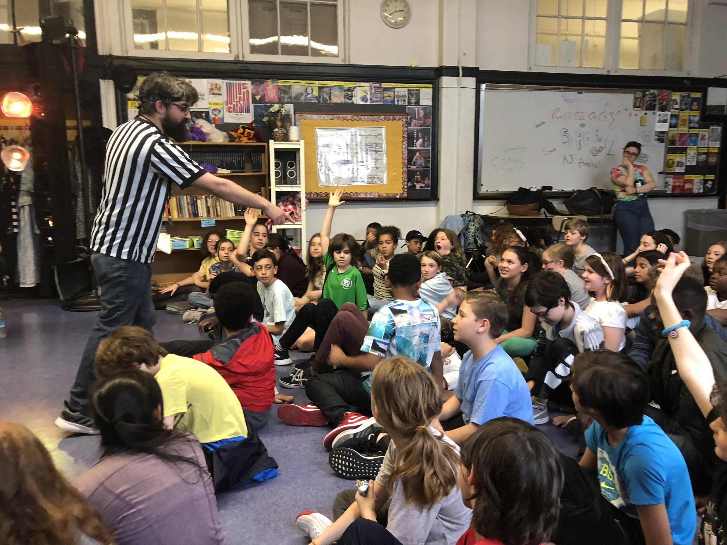 Comedy Sportz workshop with 6th grade Drama