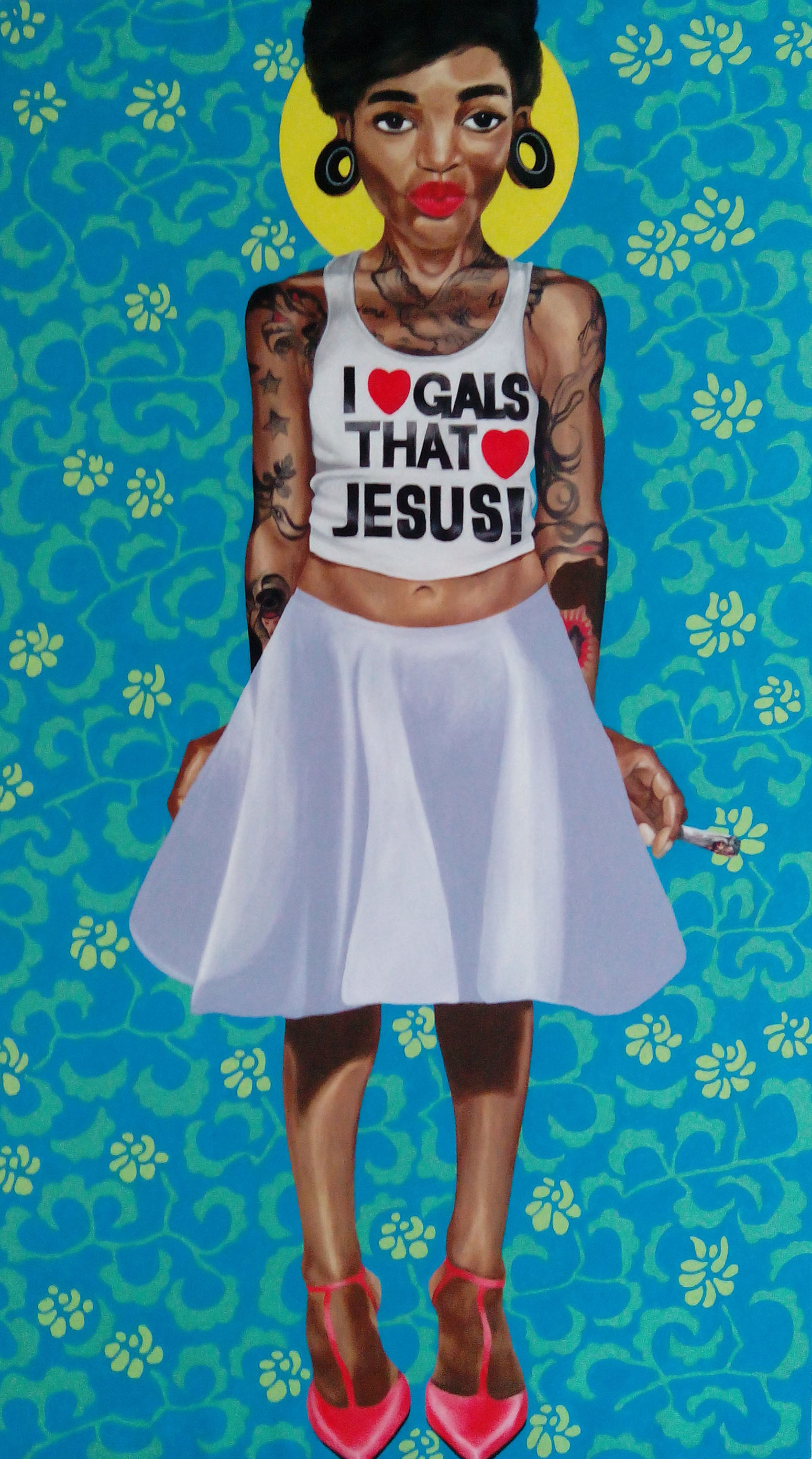 Girls That Love Jesus , 2015, oil on canvas, 163cm x 91cm