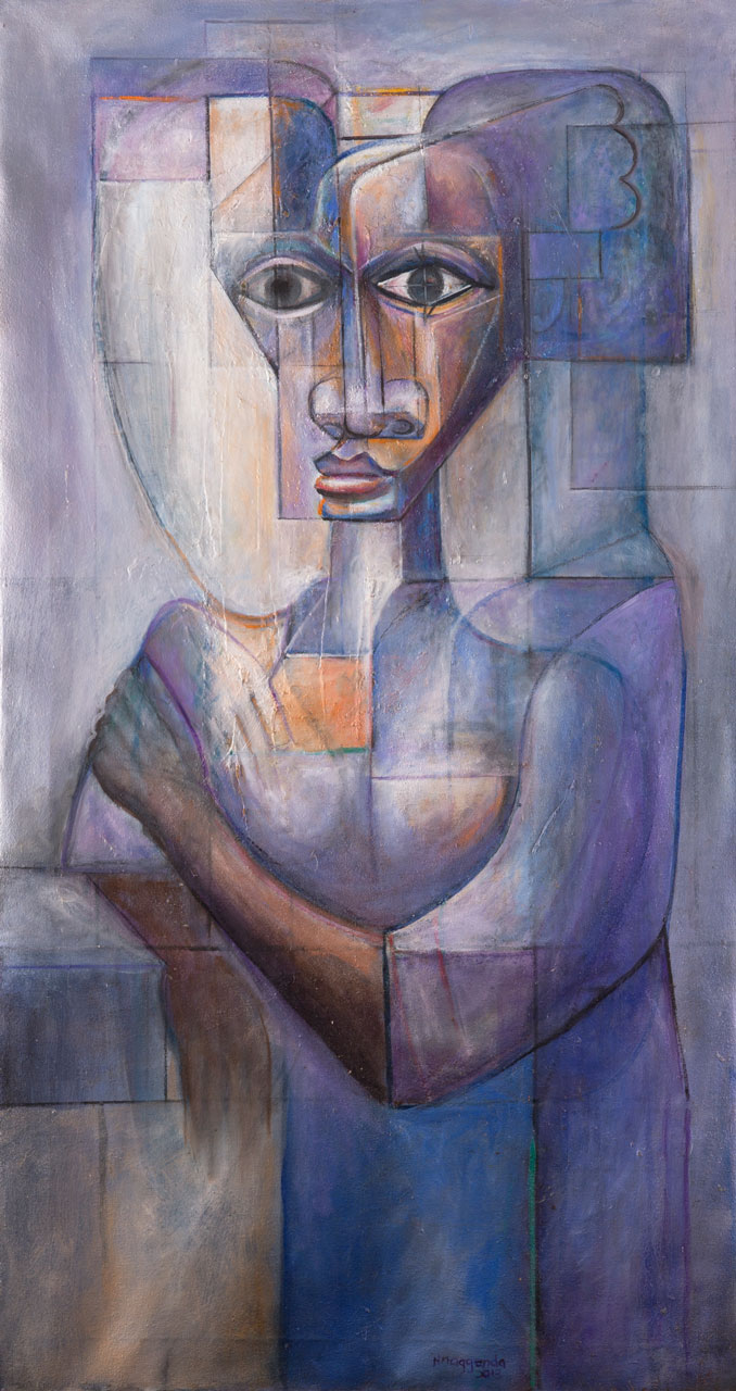 Francis Nnaggenda (Ugandan, born 1936)  Return or no Return,  2013, oil on canvas,118cm x 63.5cm