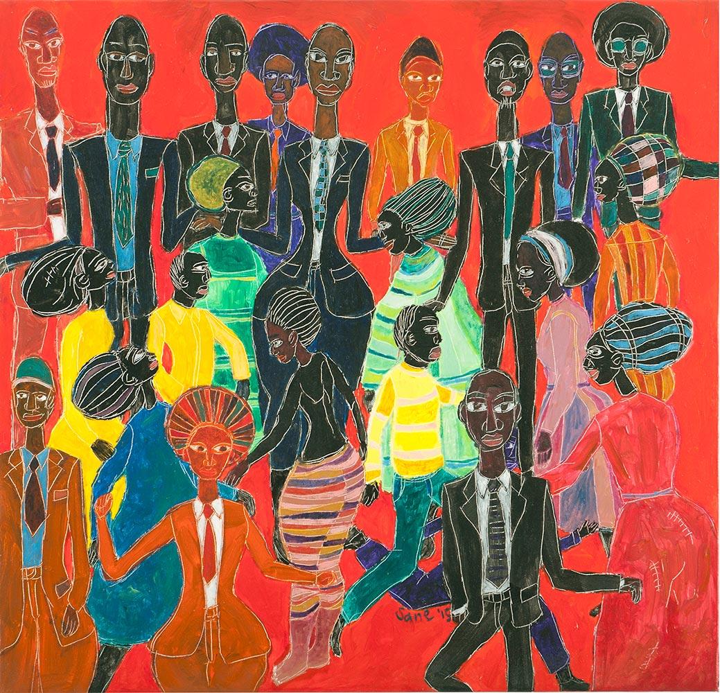 Eria 'Sane' Nsubuga, Waiting for the Next Song , 2015, acrylic on canvas,81 x 86 cm