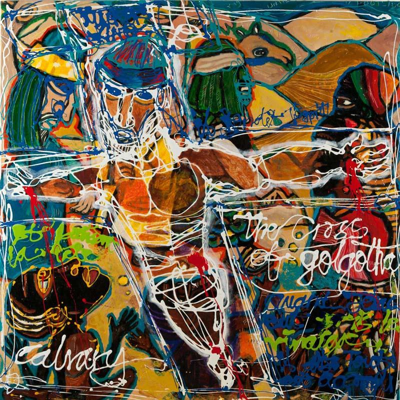 Eria 'Sane' Nsubuga (b.1979), Christ at Golgotha , 2013, acrylic on canvas,100cm x 100cm