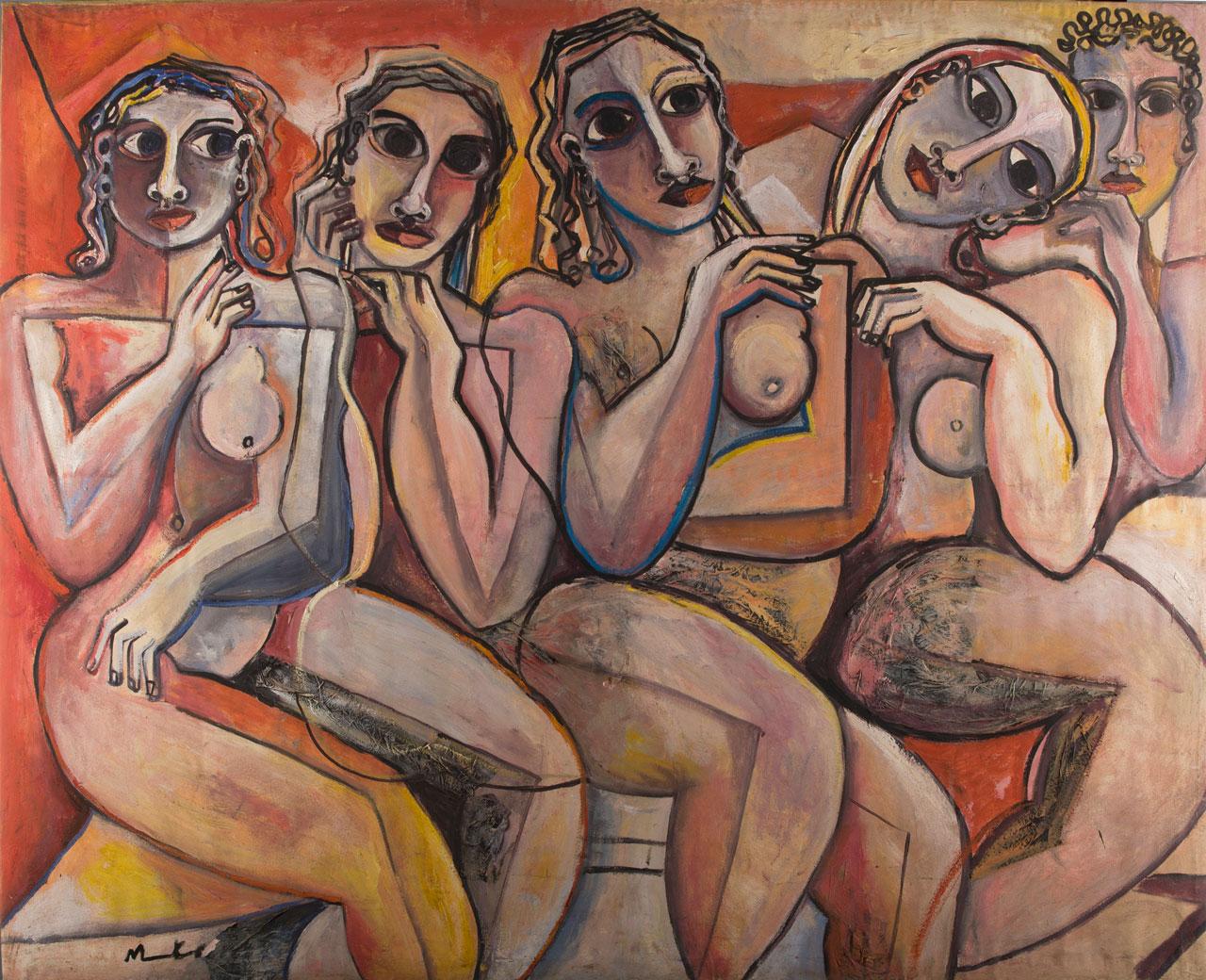 Geoffrey Mukasa (Ugandan, 1954-2009), Nudes , 2006, oil on canvas and barkcloth,120cm x 150cm