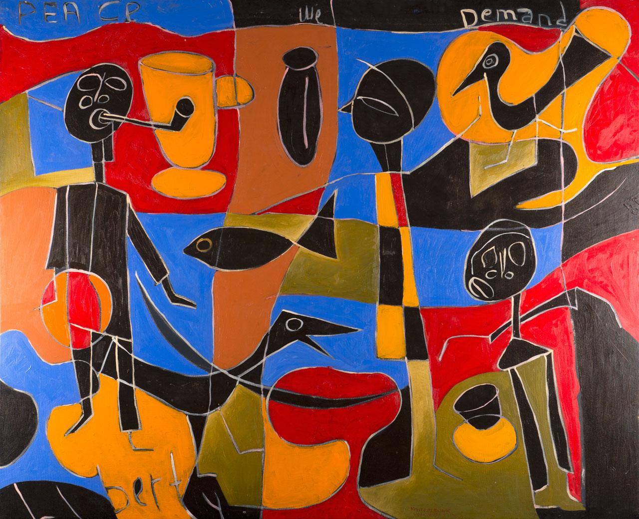 Kizito Maria Kasule (b.1973), The Legacy of Democracy,  2013, acrylic on canvas,143 x 175.5cm