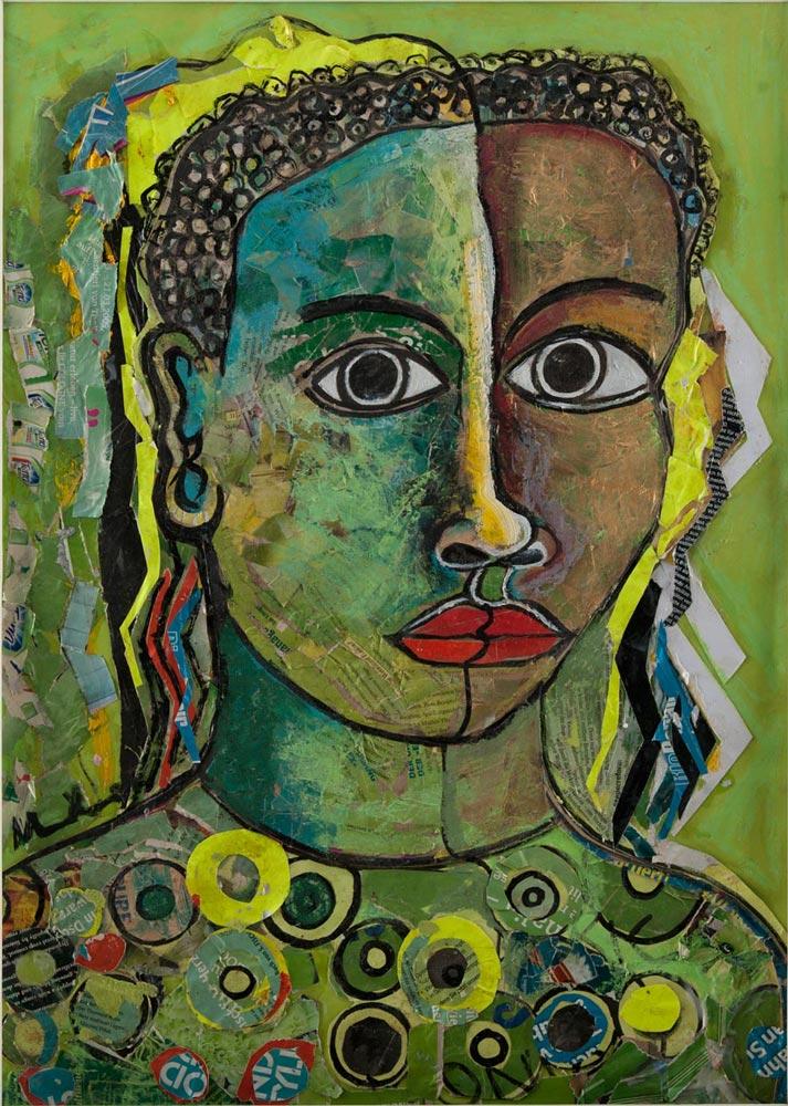 Geoffrey Mukasa (Ugandan, 1954–2009)  Lady in Green , c.2006,mixed media on paper,60cm x 45cm