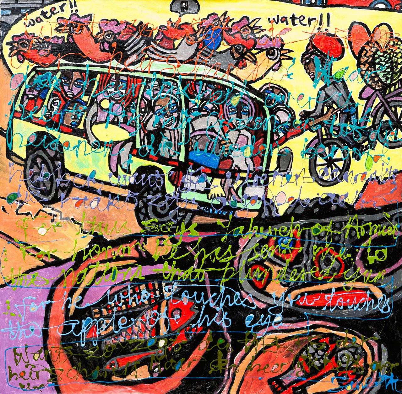 Eria 'Sane'Nsubuga (b.1979), Joy Ride to the City (Zechariah 2:8),  2014, mixed media on canvas,122 x 123cm