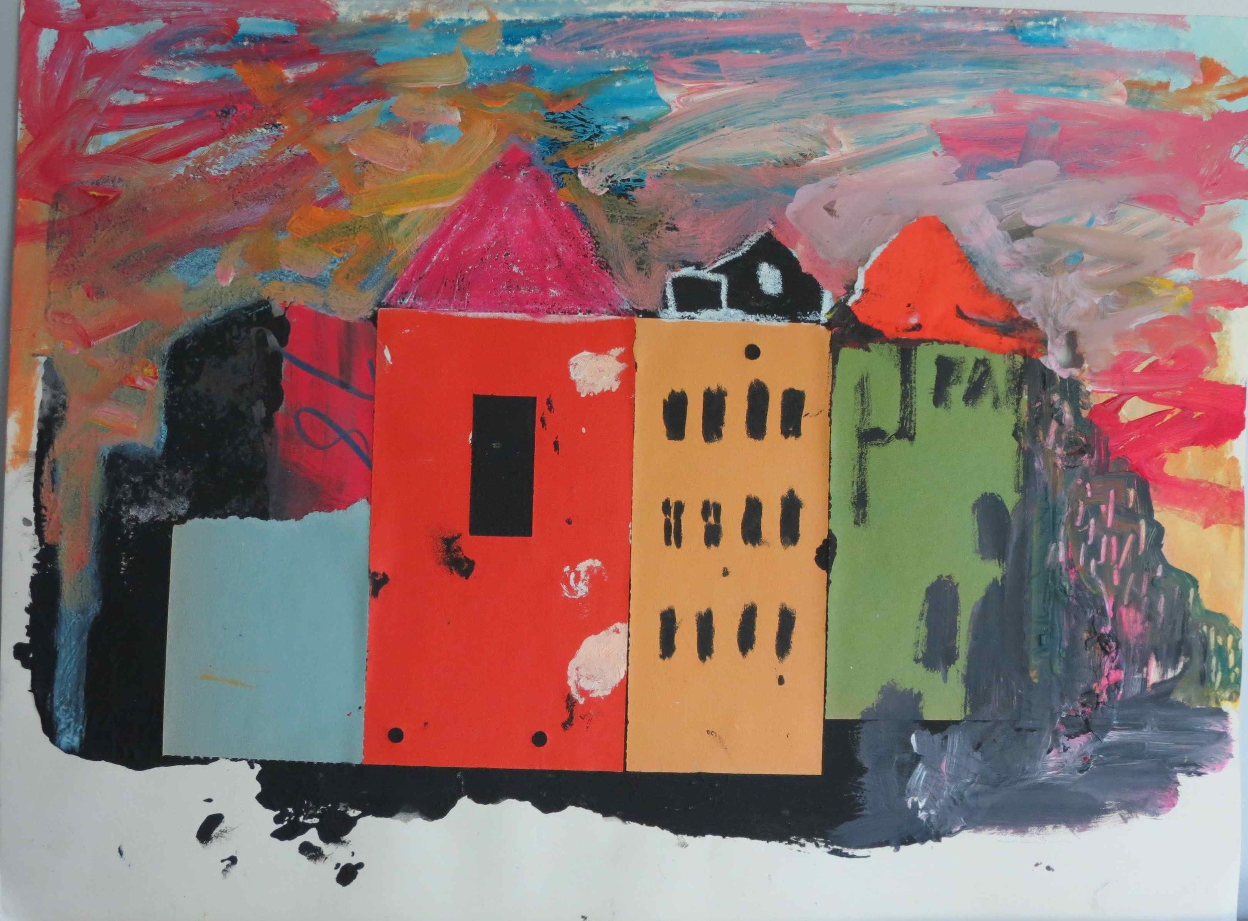 Guston Town , 2002, mixed media on paper, 30 cm x 40 cm