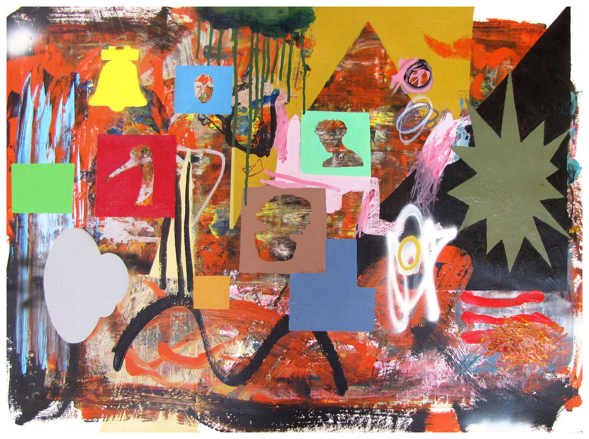 The Bombing of the Innocents , 2001, mixed media on paper, 56 cm x 76 cm