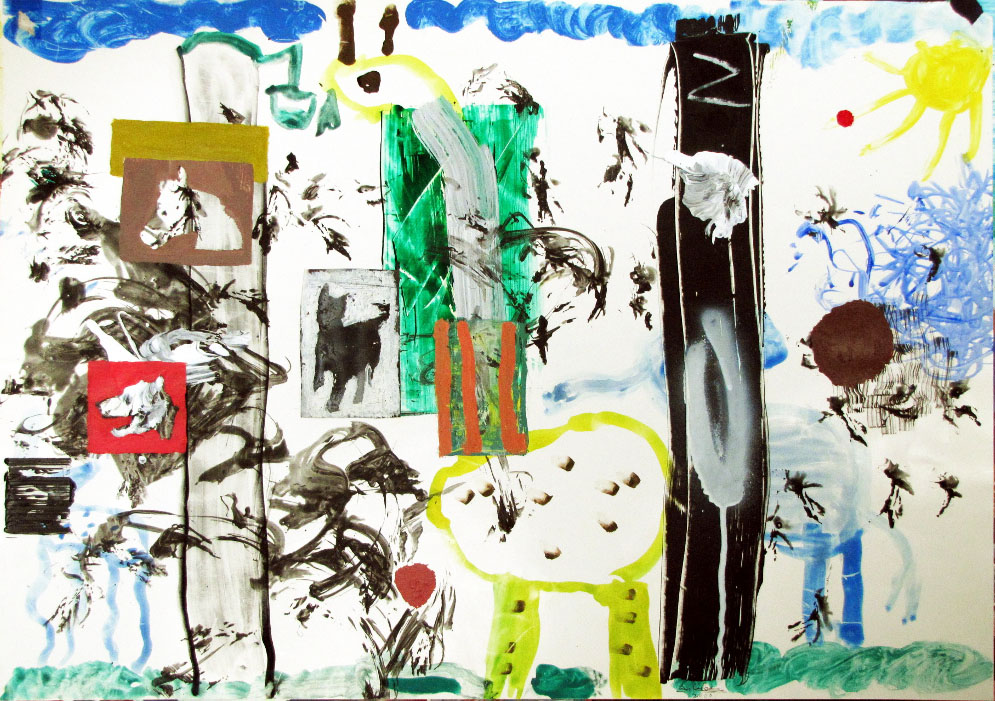 Z IS FOR ZOO (II) , 2000, mixed media on paper, 45 x 64 cm