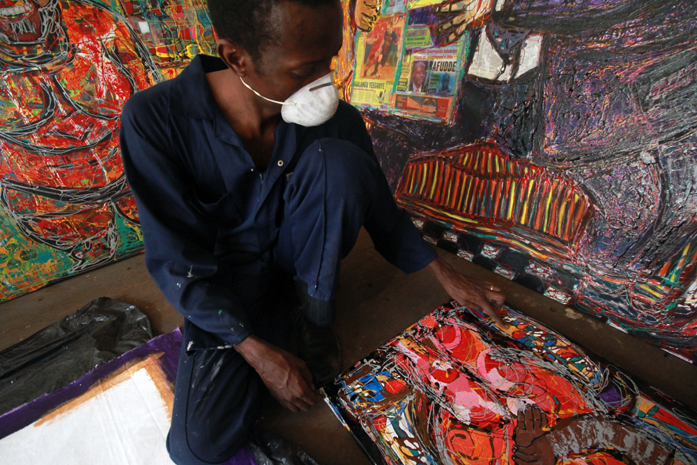 Eria 'Sane' Nsubuga in his studio during his residency