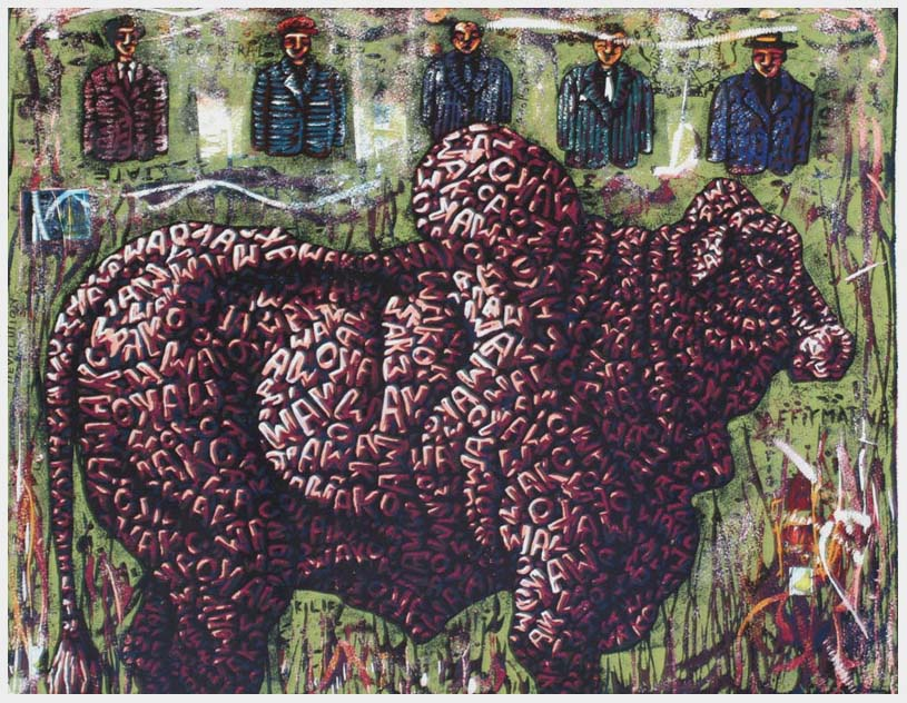 Peterson Kamwathi,  Wako , 2007, woodcut print, 1 of 2,  63.5 x 76 cm