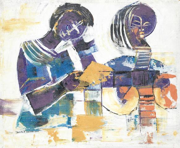 Kizito Fred Kakinda, Studies and Symbols , 2007,oil on canvas,50cm x 59.5cm