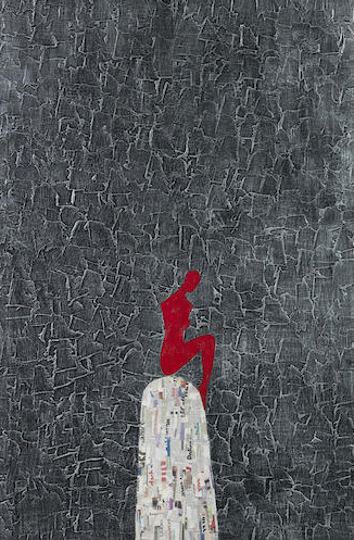 Ronex Ahimbisibwe,  'Am Solo' , 2012, oil and newspaper collage on canvas 117.5 x 79.5cm