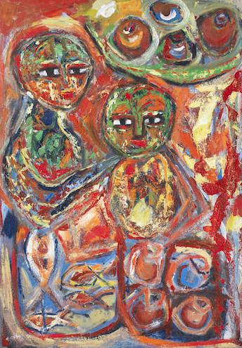 Tusiime Mathias, Life of African Woman , 2011,oil on canvas,95.5cm x 68.5cm
