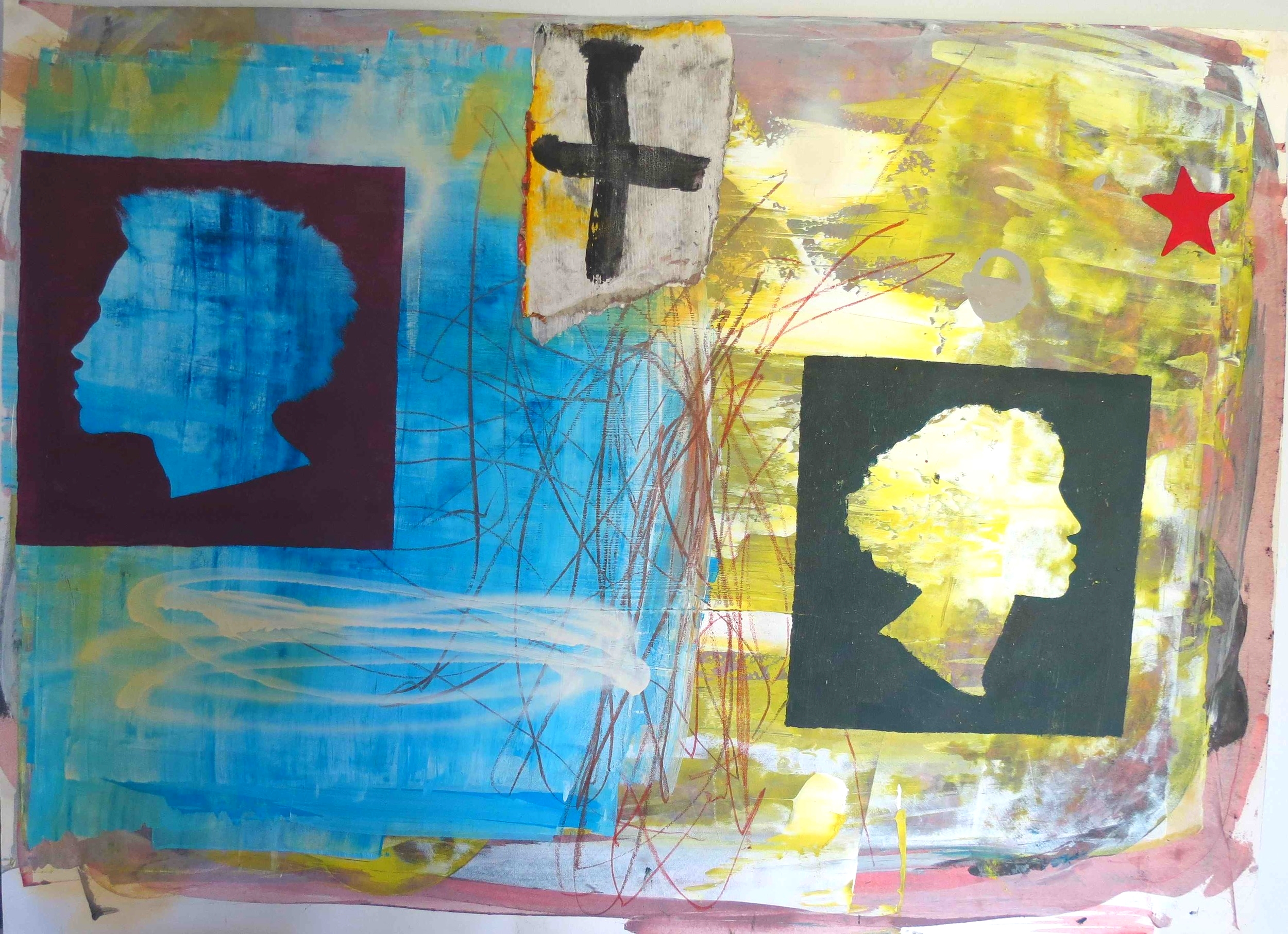 Night and Day , 2002, mixed media on paper, 56 cm x 76 cm