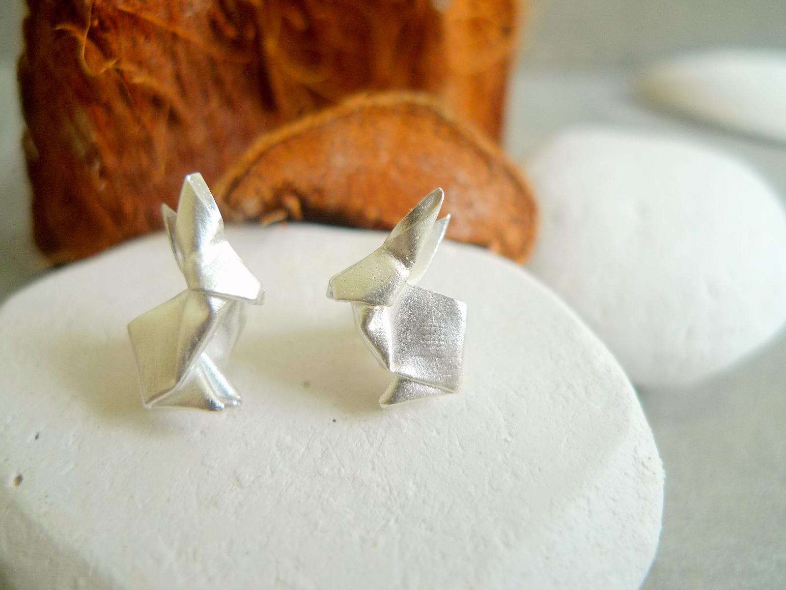 Green Rivor Origami Rabbit Stud Earrings 1.JPG
